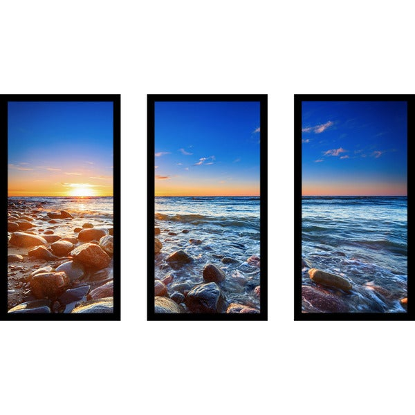 """Pebbly Beach in Rozewie"" Framed Plexiglass Wall Art Set of 3"