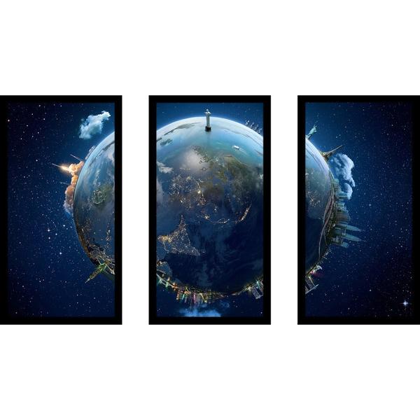 """Travel our Earth planet 3"" Framed Plexiglass Wall Art Set of 3"