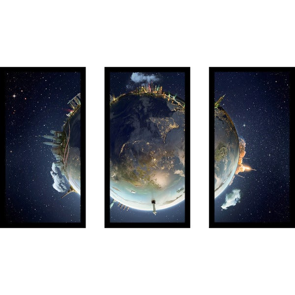 """Travel our Earth planet 2"" Framed Plexiglass Wall Art Set of 3"