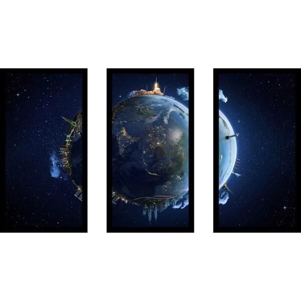 """Travel our Earth planet 1"" Framed Plexiglass Wall Art Set of 3"