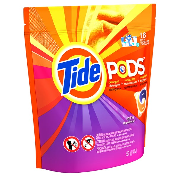 Tide 93120 Spring Meadow 3-In-1 Tide Laundry Detergent Pods 16 Count
