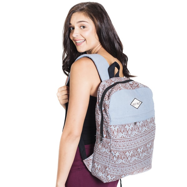 Vintage Aztec Stripe Two-Toned Backpack-Grey