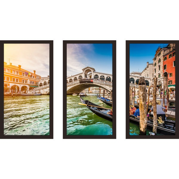 """Rialto Bridge at sunset in Venice"" Framed Plexiglass Wall Art Set of 3"