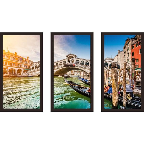 """""""Rialto Bridge at sunset in Venice"""" Framed Plexiglass Wall Art Set of 3"""