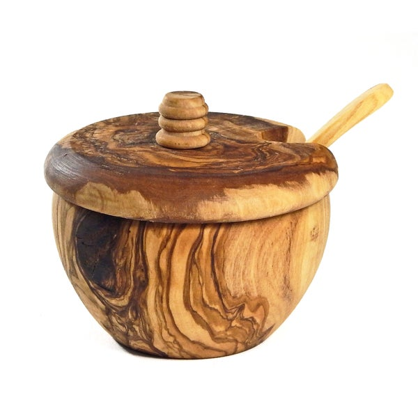 Le Souk Olivique Olive Wood Covered Sugar Bowl with Spoon (Tunisia)
