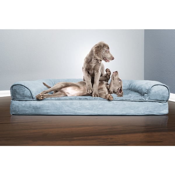 FurHaven Plush & Suede Sofa-Style Orthopedic Pet Bed