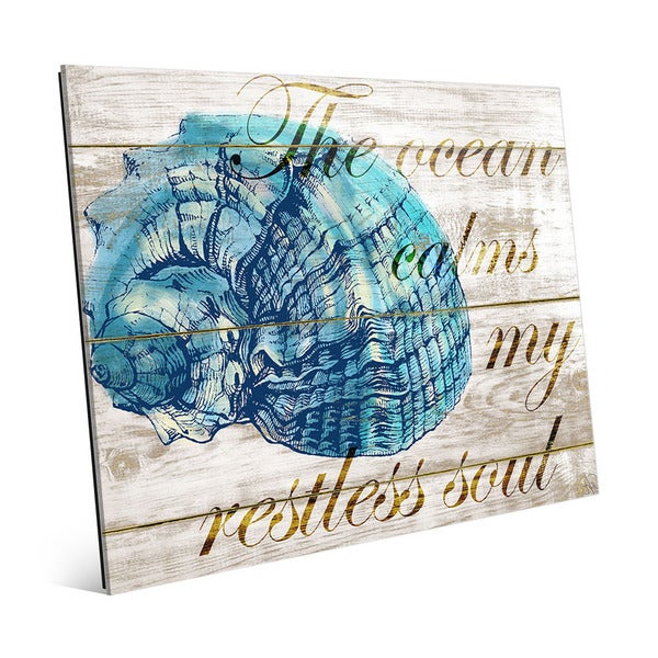 'Ocean Calms My Restless Soul' Glass Wall Art