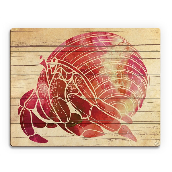 'Fiery Watercolor Hermit Crab' Wood Wall Art
