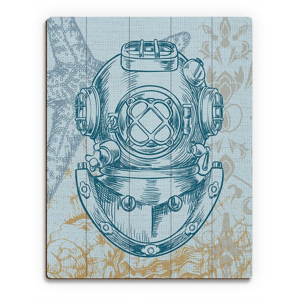 Diver's Helmet Turquoise' Wood Wall Art