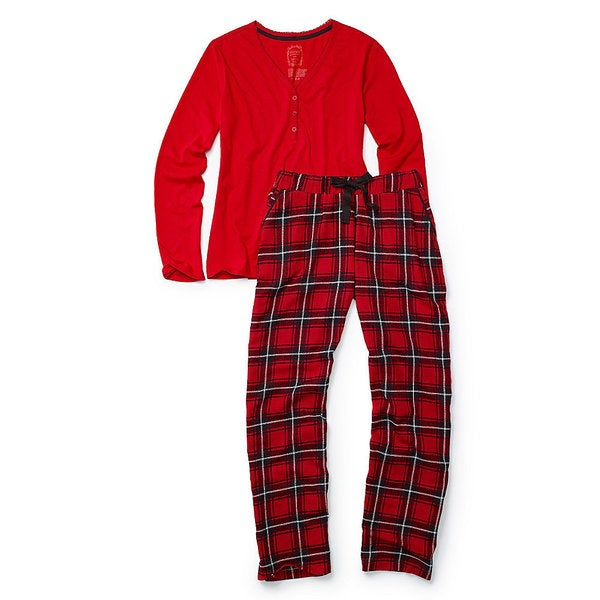 Hane's Women's Ultimate Henley Flannel Set