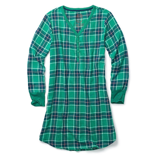 Hane's Women's Ultimate Flannel Henley Night Shirt