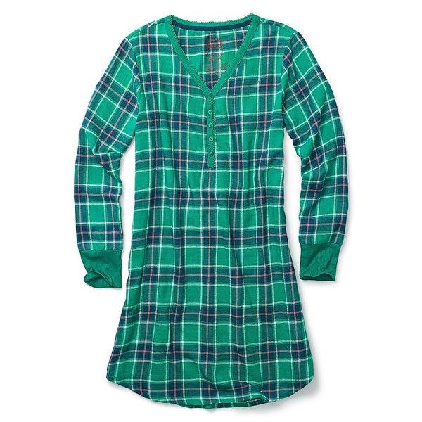 Hane's Women's Ultimate Flannel Henley Night Shirt