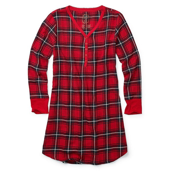Hanes Women's Ultimate Henley Red Plaid Flannel Night Shirt