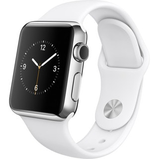 Apple Watch 38mm Stainless Steel Case with White Sport Band (Certified Refurbished)