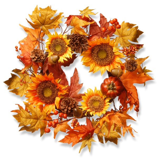 National Tree Company Harvest Accessories Fabric 22-inch Sunflower and Pumpkin Wreath 21378790