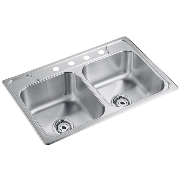 "Sterling 14708-4-NA 33"" X 22"" X 8"" Stainless Steel Double Bowl Sink"