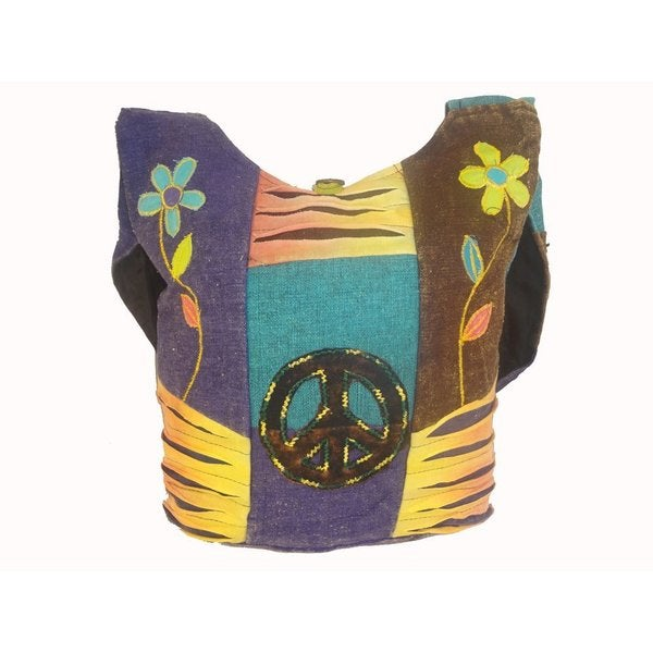 Boho Hippie Razor Cut Cotton Crossbody Bag