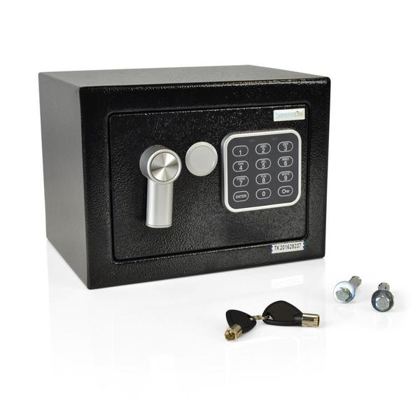 SereneLife Compact Steel Electronic Safe Box with Mechanical Override and Keys 21382966
