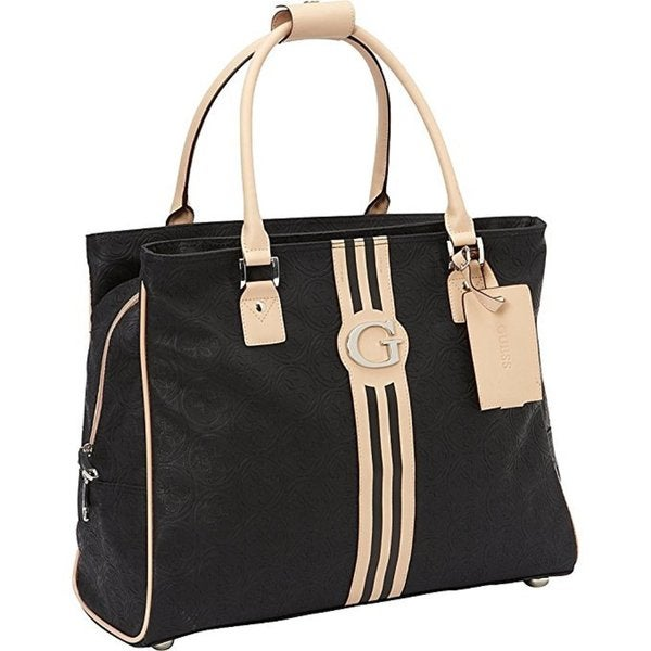 Guess Nona Collection Black PVC Deluxe Tablet Shopper Tote Bag