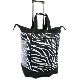 Pacific Coast Black and White Polyester Zebra-print Rolling Shopper Tote Bag