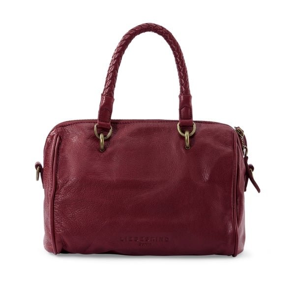 Liebeskind Berline Pretty Vintage Dark Red Grape Leather Satchel Handbag
