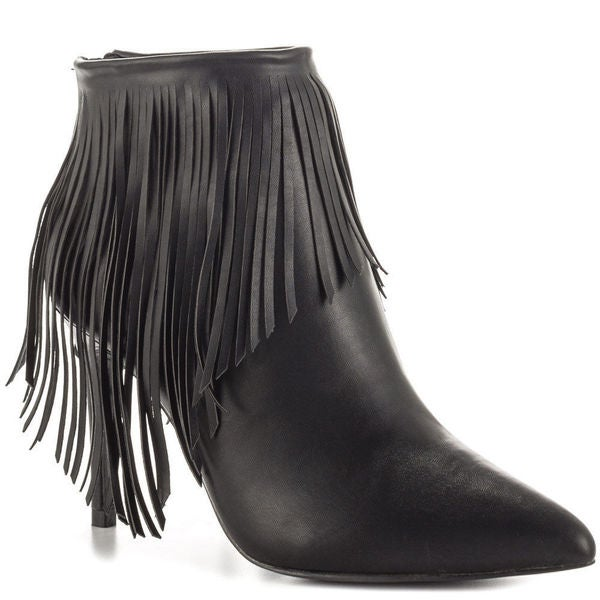 LFL Lust for Life Shrine H88 Fringe High Heel Pointed Toe Ankle Bootie