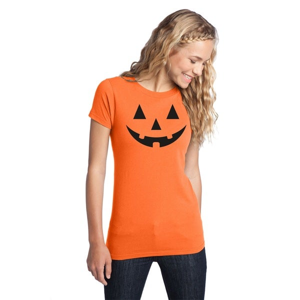 Women's Orange Cotton Jack O Lantern Halloween Costume T Shirt