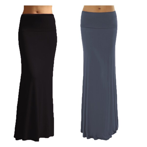 Women's Solid Basic Rayon Spandex Maxi Skirt (Pack of 2) Medium Size in Black/ Denim (As Is Item)