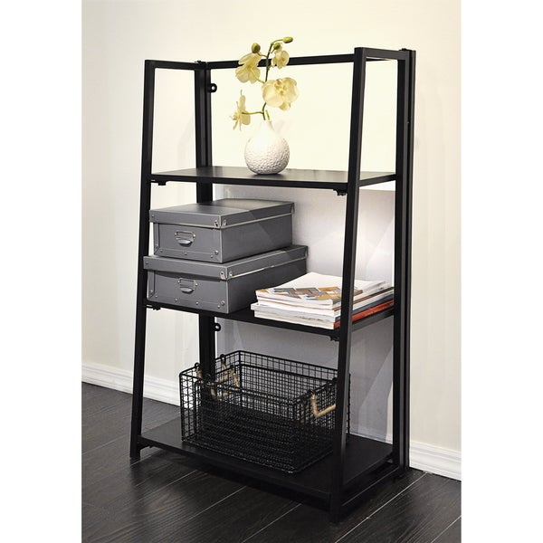 Urban Shop Black Wood Folding Bookshelf 21393888