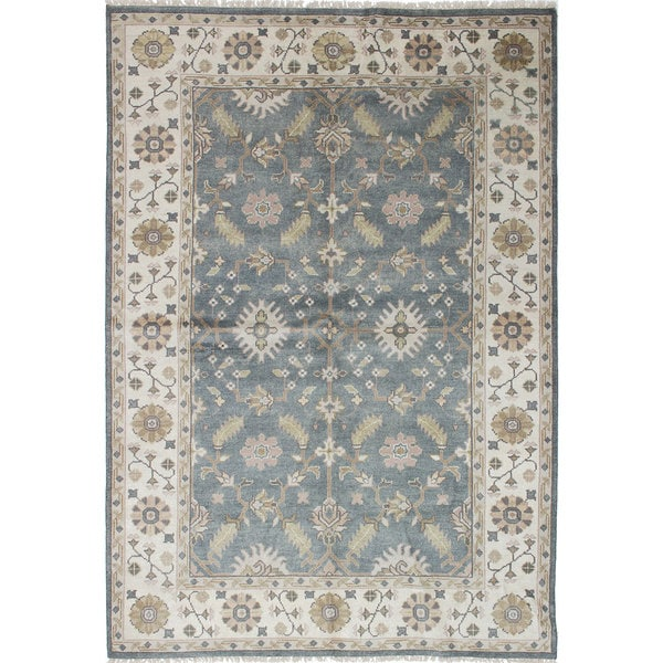 eCarpetGallery Hand-knotted Royal Ushak Grey/ Ivory Wool/ Cotton Rug (6'1 x 8'10) 21393932