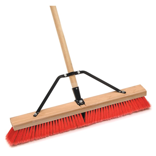 "Laitner Brush Company 1434AJ 24"" Assembled Stiff Bristle Push Broom With 60"" Handle"