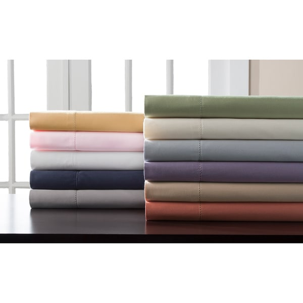 Hemstitch 400 Thread Count Sateen Solid Cotton Cal-King Size Sheet Set in Grey (As Is Item)