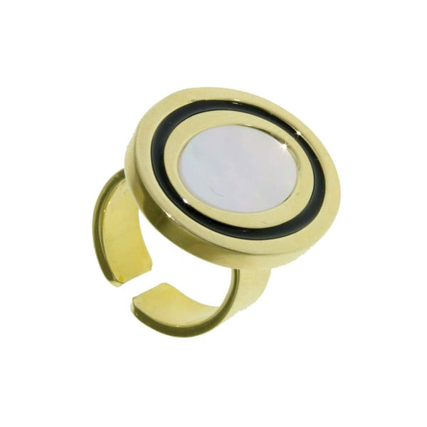 Isla Simone - 18 Karat Gold Plate Ring With Mother Of Pearl And Black Enamel 21395851