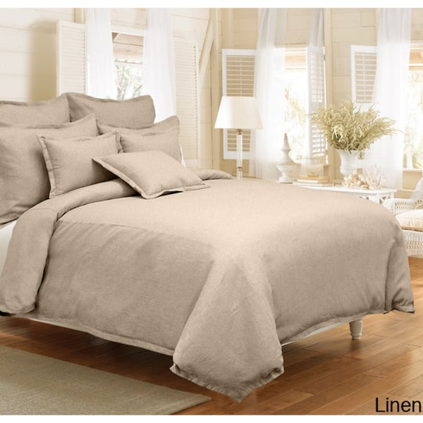 Grand Luxe Gotham Linen 3-piece King Size Duvet Cover Set in Stone (As Is Item)