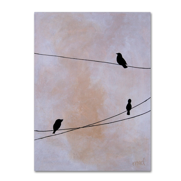 Nicole Dietz 'Bird on Wire White' Canvas Art