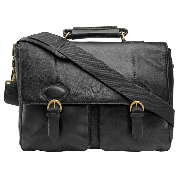 Hidesign Parker Black/Brown Leather Medium Briefcase