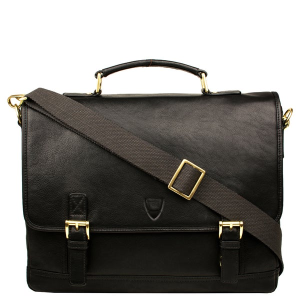 Hidesign Hunter Black/Brown Leather Laptop-compatible Messenger Bag
