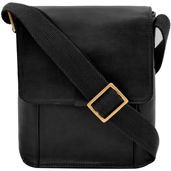 Hidesign Aiden Black/Beige/Brown Leather Medium Vertical Messenger Bag