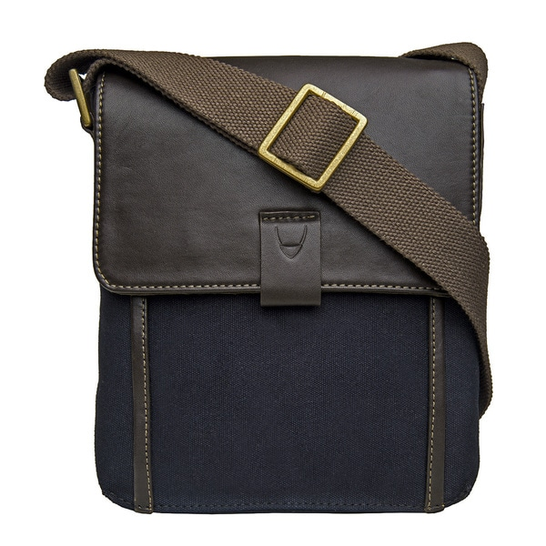 Hidesign Aiden Blue/Brown Canvas/Leather Small Vertical Messenger Bag