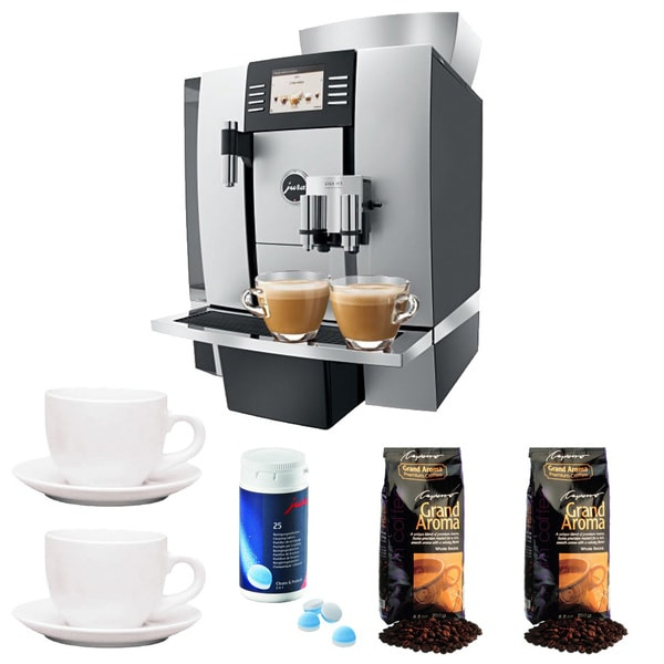 GIGA W3 Professional Coffee Center + 3-Ounce Cup & Saucer Set (Set of 2) + Jura Cleaning Tablets + Espresso Beans, Aluminum 21397719