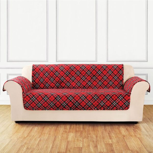 Sure Fit Holiday Tartan Plaid Sofa Furniture Cover