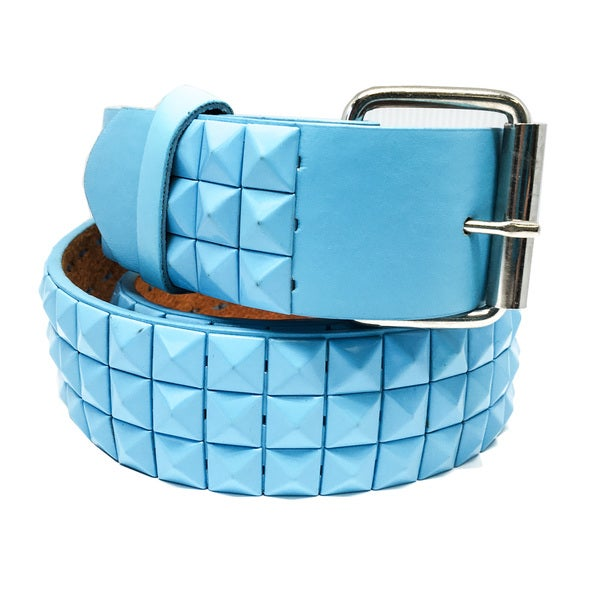 Faddism Unisex Pyramid River Blue Leather Studded Belt