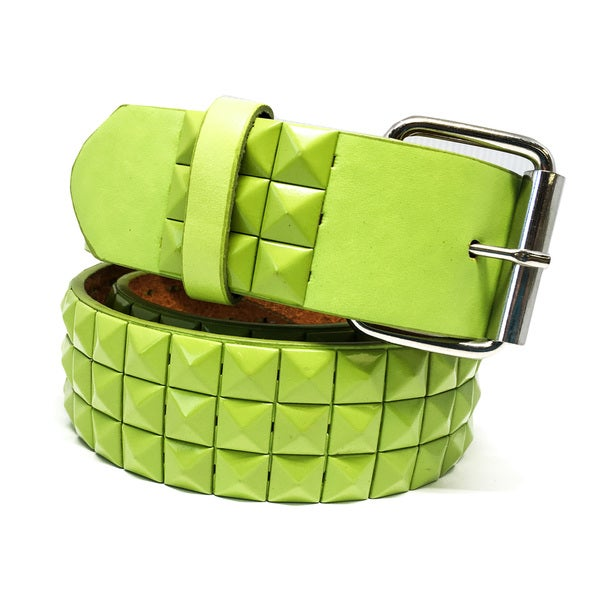 Faddism Unisex Grass Leather Pyramid-studded Belt