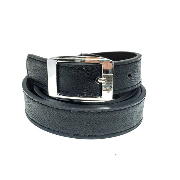 Faddism Women's Sandra Black Leather Thick Tapered Belt with Rectangle Chrome Buckle