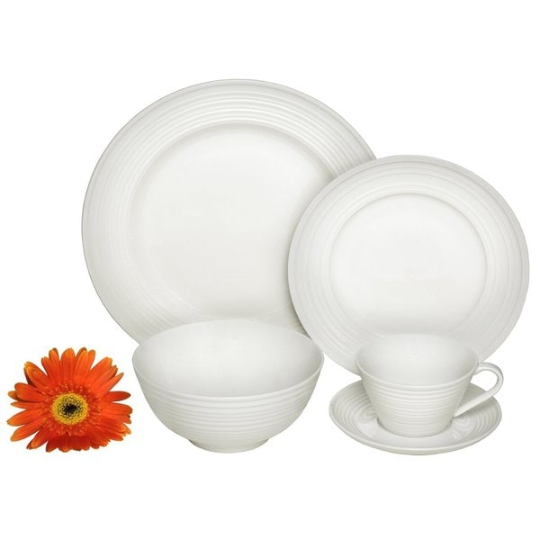 Melange Home Ivory Classic Switl 40-piece Premium Dinnerware Place Setting 21421383