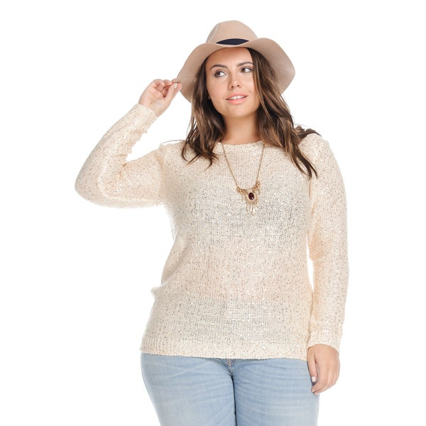 Hadari Plus Size Casual Sequin Knit Sweater