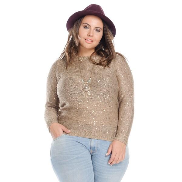 Hadari Plus Size Casual Sequin Knit Sweater