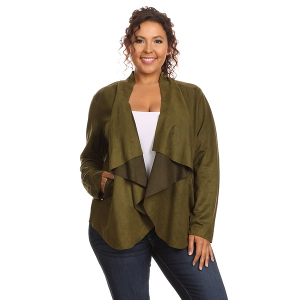 Hadari Women's Plus Size Stylish Faux Suede Open Front Drape Jacket