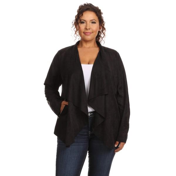Hadari Women's Plus Size Stylish Faux Suede Open Front Drape Jacket
