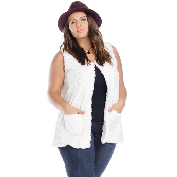 Hadari Women's Plus Size Casual Trendy Sleeveless Black Faux Fur Vest with Pockets